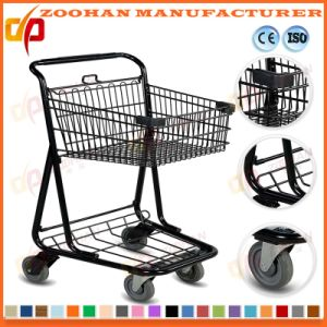 Compact Metallic Wire Grocery Supermarket Handling Shopping Trolley Cart (ZHT206) pictures & photos