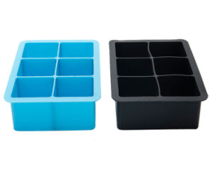 Food Grade 6 Cavities Square Silicone Ice Cube Tray for Kitchenware