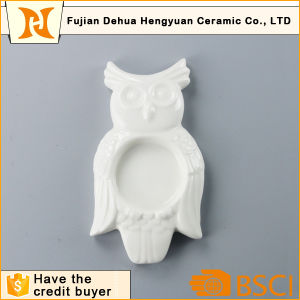 Handmade Ceramic White Small Decorative Owl Candle Holder pictures & photos