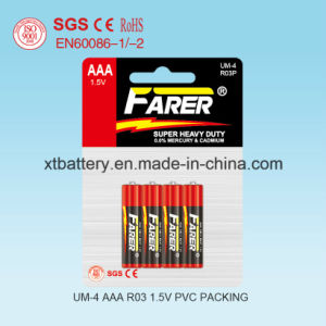 Chinese Battery Manufacture 1.5V Farer Super Heavy Duty Dry Battery (R03 AAA, Um-4) pictures & photos