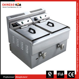 China Supplier Stainless Steel industrial Double 17L Tank LPG Gas Deep Fryer pictures & photos