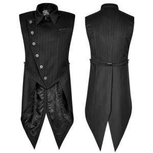Y-763 Punk Rave Gentleman Stripe Suit Style Buckle Swallow-Tail Vest