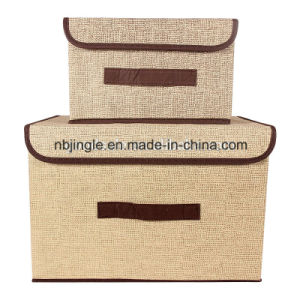 Hot Sale Linen Fabric Foldable Decorative Cardboard Storage Box with Lids&Handles