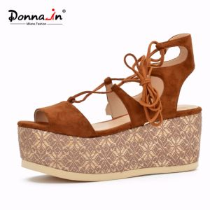 Lady Casual Lace-up High Heels Flat Weave Platform Women Sandals