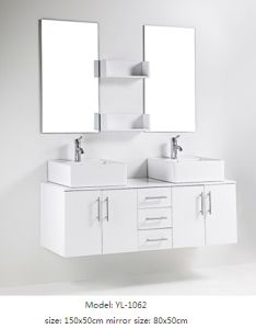 Sanitary Ware Bathroom Cabinet Double Sink with Mirror