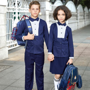 School Uniform Factory Wholesale Cheap Navy Blue School Shirts pictures & photos