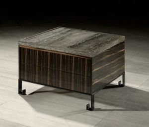 China Square Grey Travertine Coffee Table With Drawers For Home