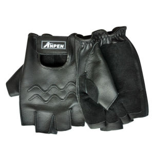 Black Cow Leather Fingerless Gloves for Outdoor Sport