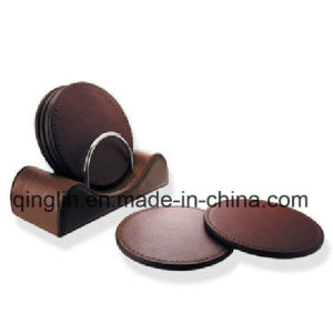 Custom Fashion Round Shape PU Leather Coaster with Brown (QL-BD-0010)