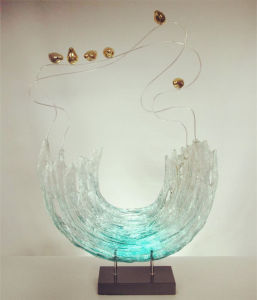Sea Wave and Fish Resin Sculpture for Decoration