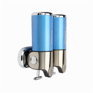 Blue 500ml*2 Stainless Steel+ABS Plastic Wall-Mountained Liquid Soap Dispenser