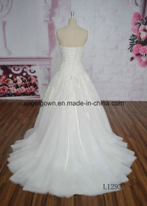 Factory Price Strapless Beading Lace Ivory Wedding Dress L1293 pictures & photos