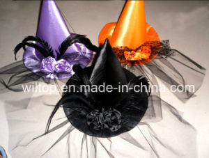 Assorted Halloween Witch Hats with Feather (PM244) pictures & photos