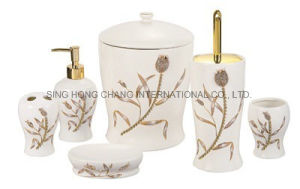 6PCS Tulip Design Ceramic Bathroom Set pictures & photos