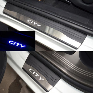 Car Accessories Stainless Steel Scuff Plates LED Door Sill Plates For Honda  City 2014 2016
