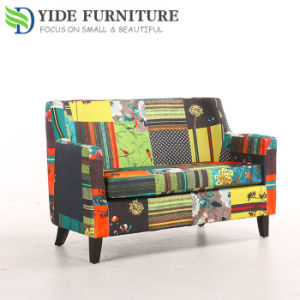 Double Seat Modern Patchwork Sofa Chairs With Wooden Legs