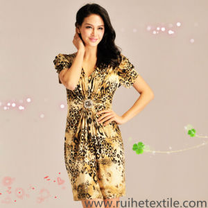 Short Sleeve Fashion Print Woven Dress for Ladies