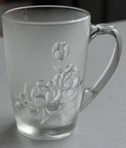 Glass Frosted Cup Rose Grain 350ml (AYA4040)