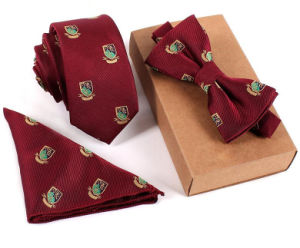 New Arrival Korean Style Vintage Silk Pocket Square Bowtie Set Skinny Ties Set pictures & photos