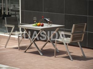 304 Glossy UV Resistant Stainless Steel Outdoor Dining Table Set pictures & photos