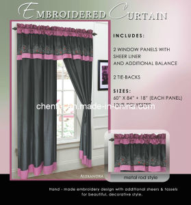 Embroidered Metal Rod Style Window Curtain with Sheers Liner&Tassels