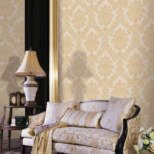 Deep Embossed Vinyl Wallpaper with Damascus Flower (Bordeaux 9803)