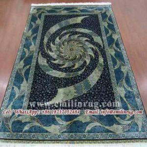 Oriental Handmade Silk Area Rugs Carpets Sale 5x8 Blue 240l 400kpsi