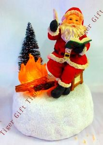 Polyresin Santa Writing Letter W/LED Light