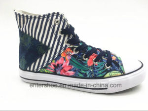 High Cut Canvas Women Fashion Shoes with Shoelaces (ET-YH160337W)