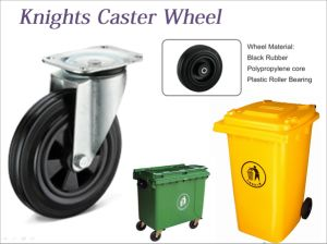 Adjustable Flat Plate Black Rubber Caster Wheel