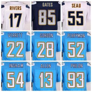 Wholesale Chargers Jersey Custom American Football Apparel Powder Blue Navy Blue White Joey Bosa Gates Rivers Williams