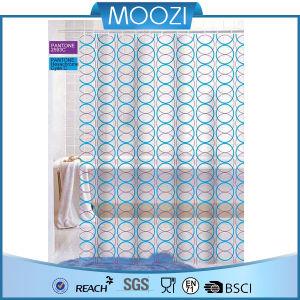 China Blue World Circle Style Fancy PVC Shower Curtain Bath Curtains Bathroom