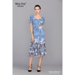 Miss You Ailinna 100749 Dress Distributor Blue Printed Crystal Cotton Slim Dress pictures & photos