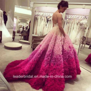 Multi Color Bridal Ball Gowns Blue Pink Cascading Ruffles Wedding Dresses Y2007 pictures & photos