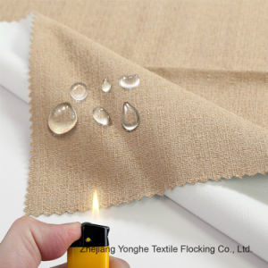 Waterproof Flocking Fr Woven Polyester Curtain Fabric for Hotel Window pictures & photos
