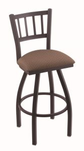 Metal Vertical Back Barstool with Vinyl Swivel Seat