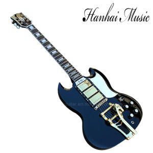 Hanhai Music / Black Sg Style Electric Guitar with Tremolo System