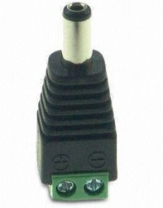 2.1mm DC Male Connector for CCTV Cameras and Power Connectors, Measures 39 X 13 X 12mm