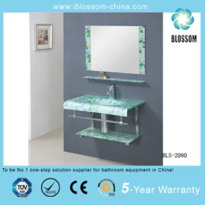 Bathroom Vanity Glass Washing Basin with Silver Mirror (BLS-2080) pictures & photos