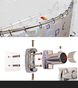 Wall-Mounted Stainless Steel 304 Bathroom Shower Curtain Rod (14-001) pictures & photos
