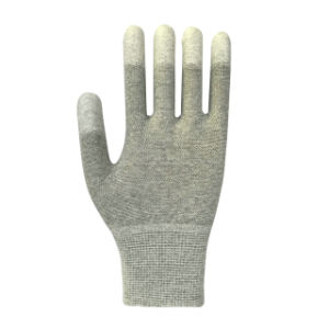 Gray Polyester PU Coated Safety Glove pictures & photos