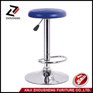 New Round Leather Seat Chromed Leg Adjustable Hydraulic Swivel Bar Stool pictures & photos