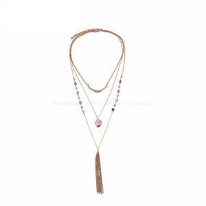 Multi Layer Tassel Chain Necklace & Pendant Women Crystal Stone Zinc Alloy Gold Plated Jewellery