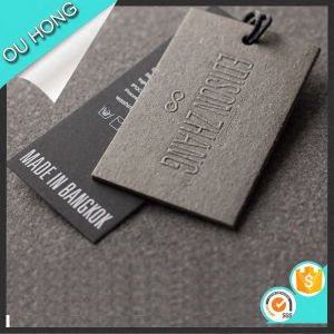 china popular design embossed logo thick paper hang tag china