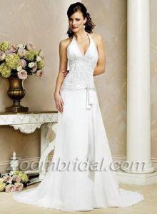 Halter Top Wedding Dresses.Column Halter Top Sleeveless Sweep Beading Satin Chiffon Bridal Dress