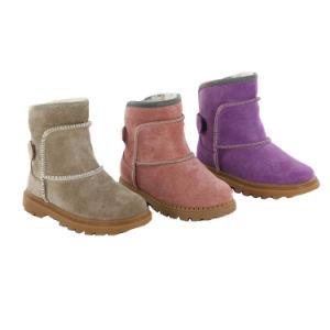 Winter Children Girls Tall Knee High Black Leather Long Boots