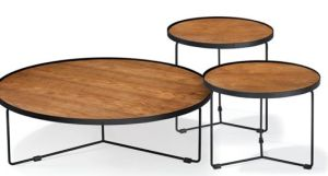 Metal Frame With Wood Top Coffee Table