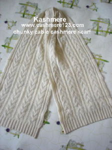 49ad0582b1 China Chunky Cable Knit Cashmere Scarf - China Cashmere, Scarf