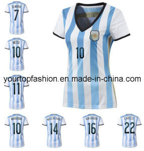 Free Shipping Top Thai Quality Lady Argentina Soccer Jersey Women Messi  Tevez Di Maria Football Uniforms 9035141d2