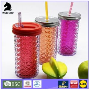 Plastic Double Wall Tumbler with Straw Colorful Mug